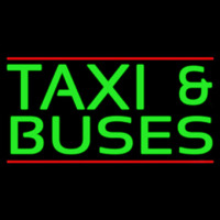 Green Ta i And Buses Neon Sign