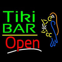 Green Tiki Bar With Parrot Martini Glass Open Neon Sign