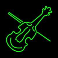 Green Violin Neon Sign