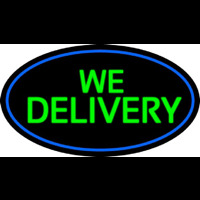 Green We Deliver Oval With Blue Border Neon Sign
