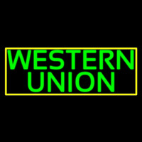 Green Western Union With Green Border Neon Sign
