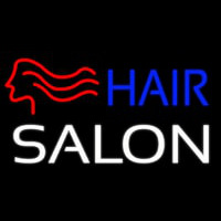 Hair Salon With Girl Logo Neon Sign