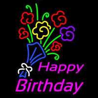 Happy Birthday With Bouquet Neon Sign