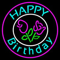 Happy Birthday With Flowers Neon Sign