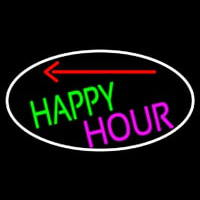 Happy Hour And Arrow Oval With White Border Neon Sign