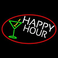 Happy Hour And Martini Glass Oval With Red Border Neon Sign