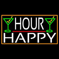 Happy Hour And Martini Glass With Orange Border Neon Sign