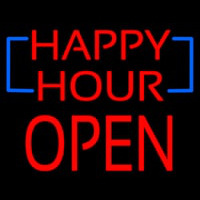 Happy Hour Block Open Neon Sign