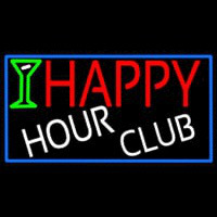 Happy Hour Club With Blue Border Neon Sign