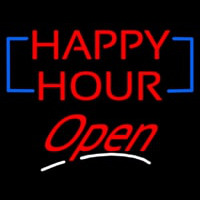 Happy Hour Cursive Open Neon Sign