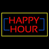 Happy Hour Rectangle Yellow Neon Sign