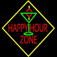 Happy Hour Zone With Martini Glass Neon Sign
