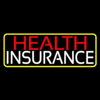 Health Insurance With Yellow Border Neon Sign