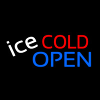 Ice Cold Drinks Red Open Neon Sign