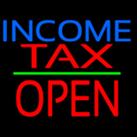 Income Ta  Block Open Green Line Neon Sign