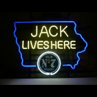 Jack Daniels Jack Lives Here IOWA Whiskey Neon Sign