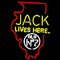 Jack Daniels Jack Lives Here Illinois Whiskey Neon Sign