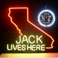 Jack Daniels Lives Here California Old #7 Whiskey Neon Sign