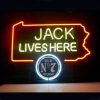 Jack Daniels Lives Here Pennsylvania Old #7 Whiskey Neon Sign