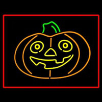 Jack O Lantern Pumkin With Red Border Neon Sign