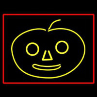 Jack O Lantern With Red Border Neon Sign