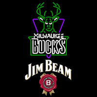 Jim Beam Milwaukee Bucks NBA Beer Sign Neon Sign