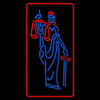 Law Office Logo With Red Border Neon Sign