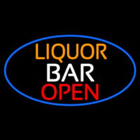 Liquor Bar Open Oval With Blue Border Neon Sign