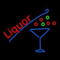 Liquor With Martini Glass Neon Sign