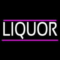 Liquors With Pink Out Line Neon Sign