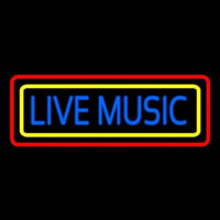 Live Music With Yellow Red Border 2 Neon Sign