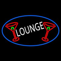 Lounge And Martini Glass Oval With Blue Border Neon Sign