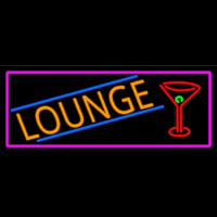 Lounge And Martini Glass With Pink Border Neon Sign