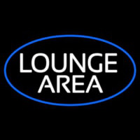 Lounge Area Oval With Blue Border Neon Sign