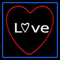 Love Red Heart With Blue Border Neon Sign