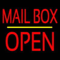 Mailbo  Open Block Yellow Line Neon Sign