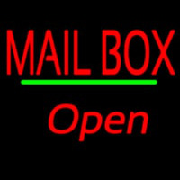 Mailbo  Open Green Line Neon Sign