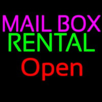 Mailbo  Rental Block Open Neon Sign