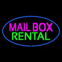 Mailbo  Rental Blue Oval Neon Sign
