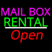 Mailbo  Rental White Line Open Neon Sign