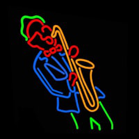 Man Playing Sa ophone Neon Sign