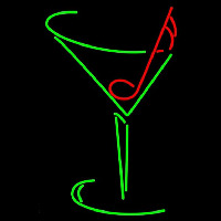 Martini Glass Musical Note Neon Sign