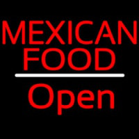 Me ican Food Open White Line Neon Sign