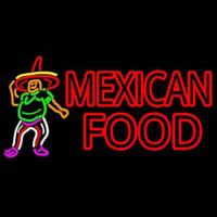 Mexican Food Man Logo Neon Sign