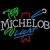 Michelob Light Red Ribbon Golfer Neon Sign