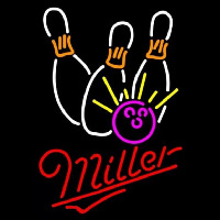 Miller Bowling White Pink Beer Sign Neon Sign