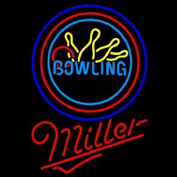 Miller Bowling Yellow Blue Beer Sign Neon Sign