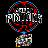 Miller Genuine Draft Detroit Pistons NBA Beer Sign Neon Sign