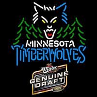 Miller Genuine Draft Minnesota Timberwolves NBA Beer Sign Neon Sign