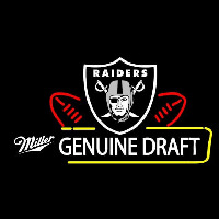 Miller Genuine Draft Oakland Raiders Beer Real Neon Glass Tube Neon Sign Neon Sign